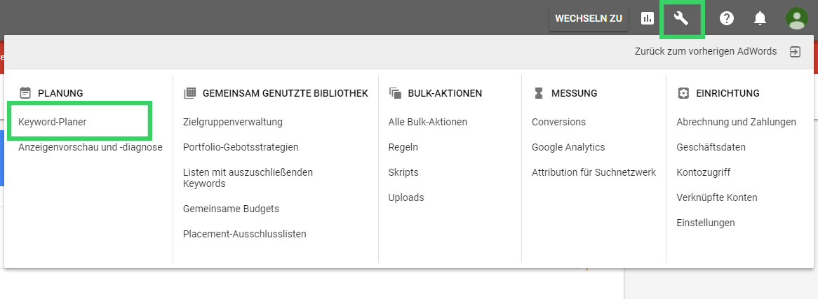Keyword-Planer in Adwords öffnen