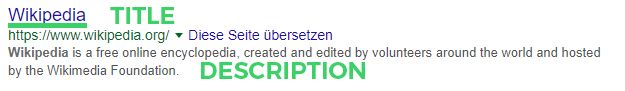 Tite und Description bei Google
