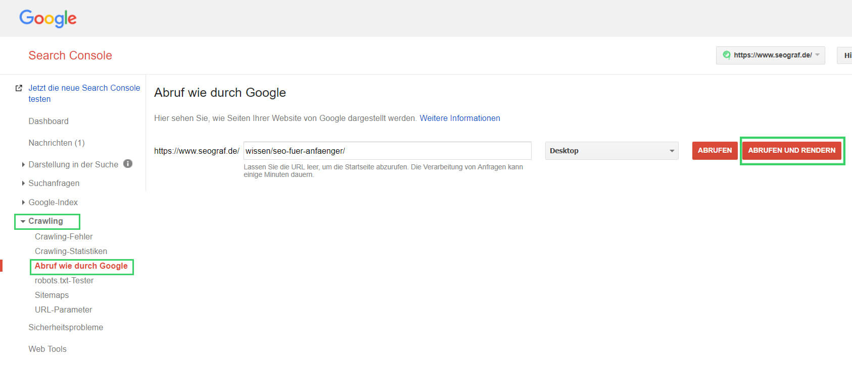 Screenshot Abruf-wie-durch-Google